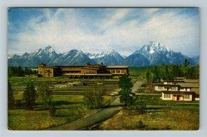 Jackson Hole WY- Wyoming, Jackson Lake Lodge, Grand Tetons, Chrome Postcard