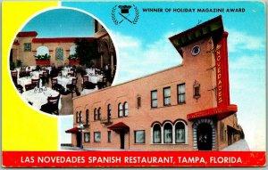 Tampa, Florida Postcard LAS NOVEDADES SPANISH RESTAURANT Roadside Chrome c1950s
