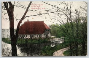 Oconomowoc Wisconsin~Waldheim Park~Footbridge to Island Hall~Path~c1910 Postcard