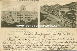 india, BOMBAY, Victoria Railway Station, Street Scene in White City (1901)