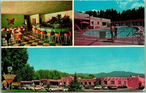 1960s TAOS, New Mexico Postcard KACHINA LODGE AND MOTEL Roadside Chrome Unused