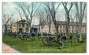 1910 U.S. Arsenal and Grounds, Springfield, MA Parrott Guns Postcard
