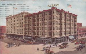 Busy street showing, Albany Hotel in Denver, Colorado, PU-1915