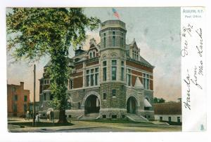 Auburn, New York Post Office Building, unmailed Tuck Postcard with docketing