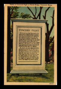 CONCORD FIGHT TABLET NORTH BRIDGE MASSACHUSETTS