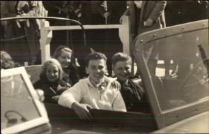 Kids on Car Amusement Park Ride Unidentified Real Photo Postcard c1920s