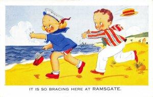 Vintage Comic Joke Postcard, It's so Bracing here at Ramsgate, Kent DQ8