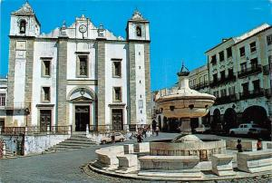 Portugal Evora Geraldo Square and Santo Antao Church Fountain Igreja