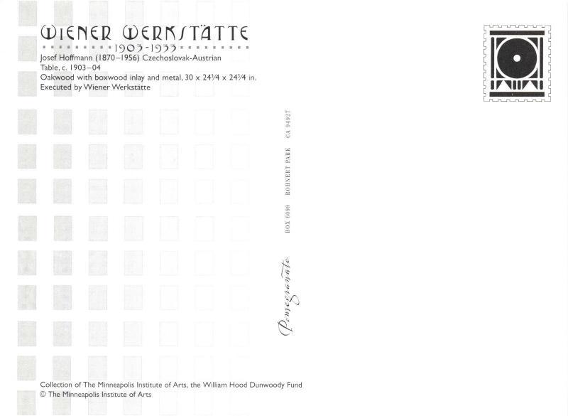 Postcard Czechoslovak-Austrian Table c1903-04 by Josef Hoffmann K70