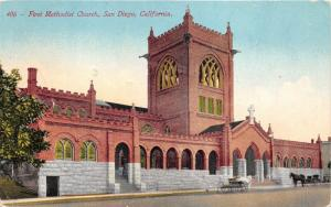 San Diego California~First Methodist Church~Horse & Buggy in Street~1912 Pc