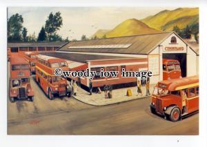 tm6072 - Red Buses at Keswick Bus Station c1952, Artist - G.S.Cooper - postcard