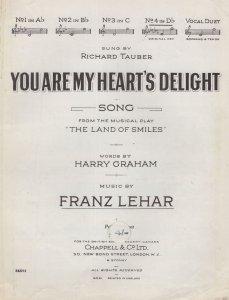You Are My Hearts Delight Frank Lehar Richard Tauber Sheet Music