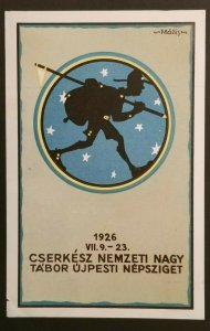1926 Mint Vintage Hungary Boy Scout Troop Illustrated Postcard
