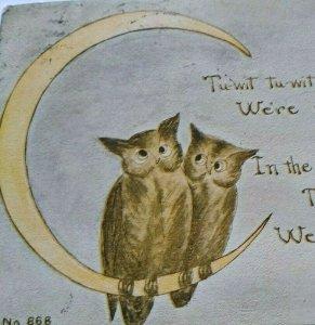 Vintage Halloween Postcard Owls On Moon Series 868 FA Owen Antique Original 1913