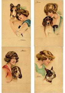 MEUNIER S. ILLUSTRATEUR FEMMES & CHIENS ARTIST SIGNED SET OF 6 CPA (L2595)