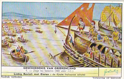 Liebig Trade Card s1744 History Of Greece No 1 Zege bij Salamis 480 BC