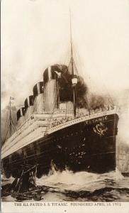 SS Titanic Ship Foundered 1912 UNUSED Real Photo Postcard E55