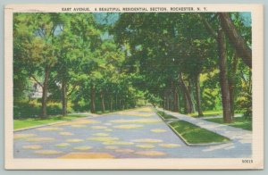 Rochester New York~East Avenue Residential Section~1940s Linen Postcard