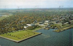 ESCANABA MICHIGAN CITY PARK~LUDINGTON HOUSE~STATE BUILDING AERIAL POSTCARD 1962