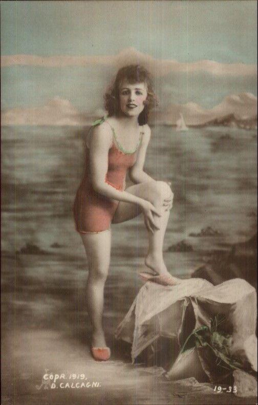 Bathing Beauty in Red Suit 1919 Tinted Real Photo Postcard