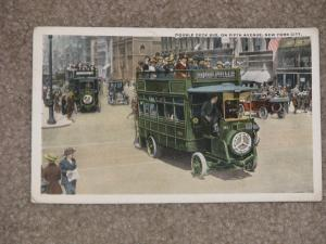 Double Deck Bus, on Fifth Ave., N.Y. City, used vintage card