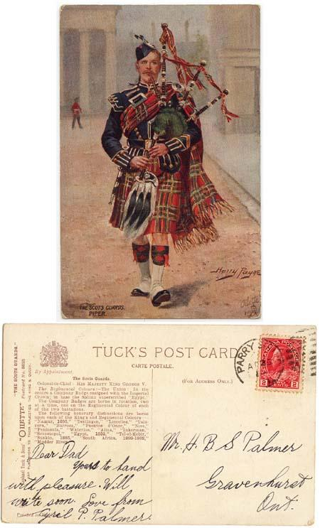 Canada - 1915 Postcard Showing The Scots Guards Piper
