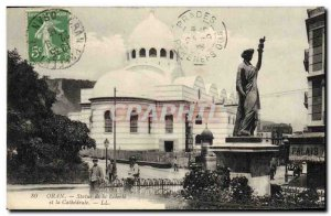 Old Postcard Statue of Liberty and the cathedral Oran