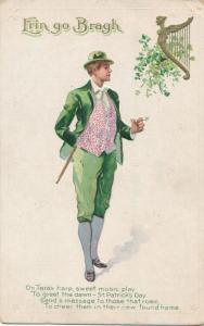 St Patricks Day Greetings - Tars's Sweet Harp - Smoking Pipe - DB