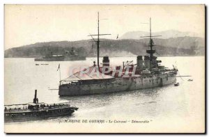 Old Postcard warship The Breastplate Democracy