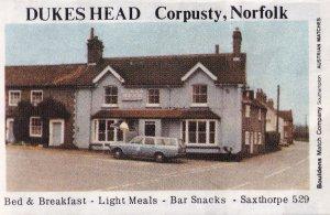 The Dukes Head Corpusty Saxthorp Norwich Norfolk Pub Old Matchbox Label