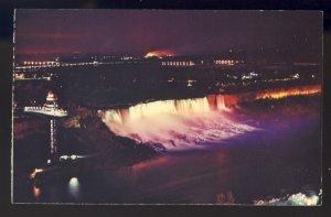Ontario, Canada Postcard, American Niagara Falls Illuminated, 1968!
