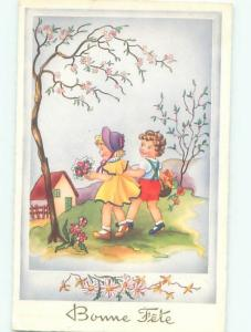 foreign Old Postcard FRENCH KIDS WALKING WITH FLOWER BASKETS AC3372
