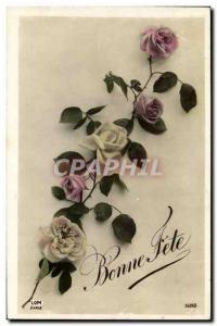 Old Postcard Fantasy Flowers Bonne fete