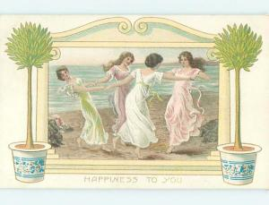 Unused Divided-Back FOUR PRETTY GIRLS DANCE IN A CIRCLE AT THE OCEAN o7819