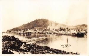Wrangell Alaska~Waterfront~Moore & McCormack Ship~People on Shore in Front~RPPC