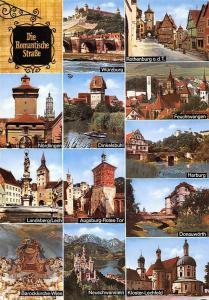Die Romantische Strasse, Wuerzburg Bruecke Rothenburg Harburg Donawoerth Castle
