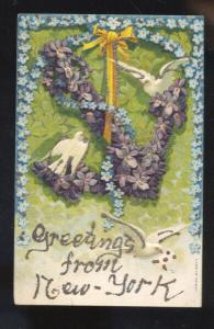 GREETINGS FROM NEW YORK CITY PURPLE FLORAL COVERED ANCHOR VINTAGE POSTCARD