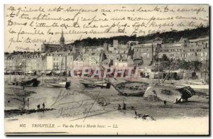 Old Postcard Trouville port view at low tide Boat