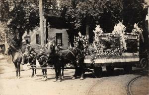 CANTON OHIO~C LINDACHER FLORIST FLORAL PARADE FLOAT-REAL PHOTO 1910s POSTCARD
