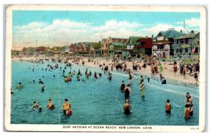 Early 1900s Swimming at Ocean Beach, New London, CT Postcard