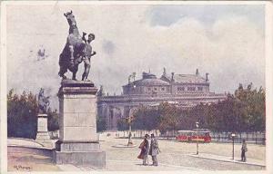AS: R. Prpuss, Monument, Trolley, Burgtheater, Wien (Vienna), Austria, 1900-1...