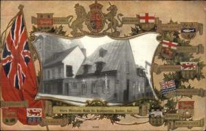 Quebec City Montcalm Bldg - Patriotic Flag & Shield Border c1910 Postcard