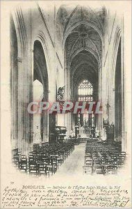 Postcard Old Bordeaux Interior of the church Saint Michel Nef map 1900)