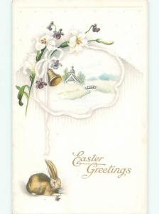 Divided-Back EASTER BUNNY RABBIT SCENE Cute Postcard AA1212