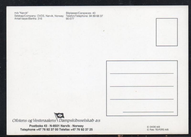 Ship M/S Narvik colour card  unused