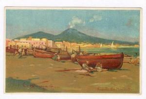 Napoli - La Marimella, Fishing boats on beach, ITALY, 1890s