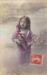 1er Avril April Fool's Day Young Girl Holding Fish