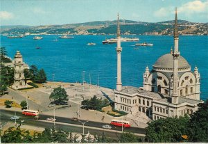 Turkey Istanbul Postcard Mosque of Dolmabahce and the Bosphorus