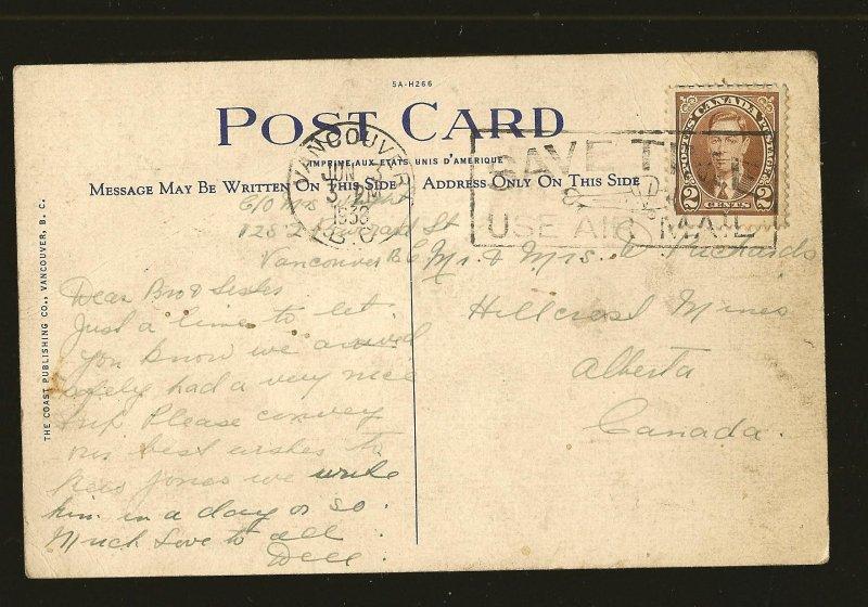 Postmarked 1938 Parliament Buildings Victoria BC Linen Postcard