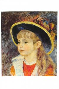 NEW Art Postcard, Young Girl with a blue hat (1881) by Auguste Renoir BO4